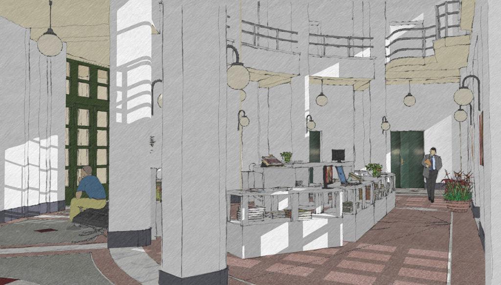Schizzo del progetto del bookshop del Museo Duilio Cambellotti, vista centrale