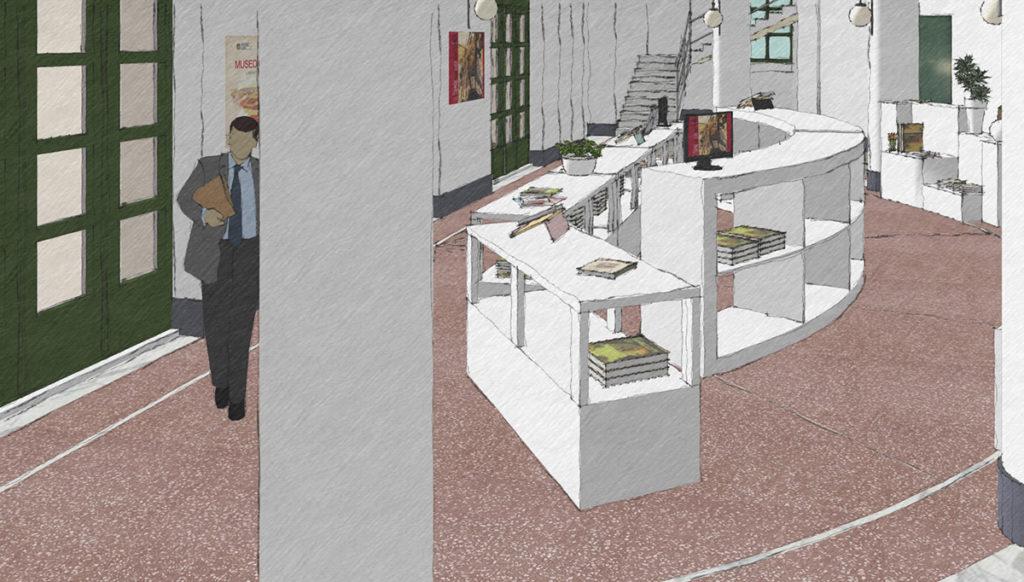 Schizzo del progetto del bookshop del Museo Duilio Cambellotti, vista di lato