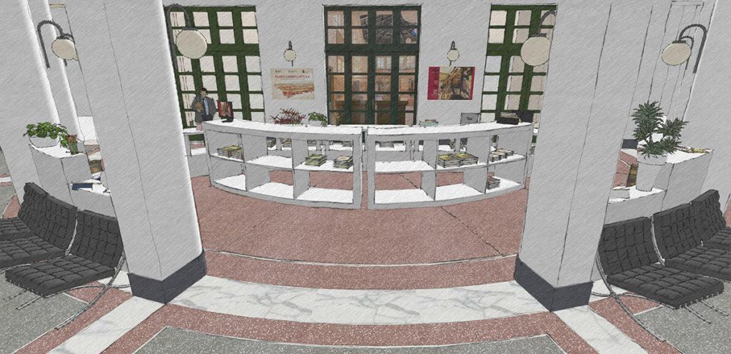Schizzo del progetto del bookshop del Museo Duilio Cambellotti, versione frontale con arredamento movibile