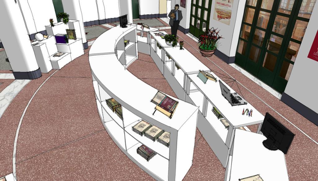 Schizzo del progetto del bookshop del Museo Duilio Cambellotti, vista di dall'alto