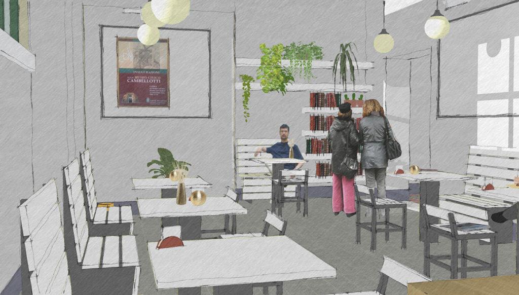 Schizzo del progetto dell'interno della caffetteria del Museo Duilio Cambellotti