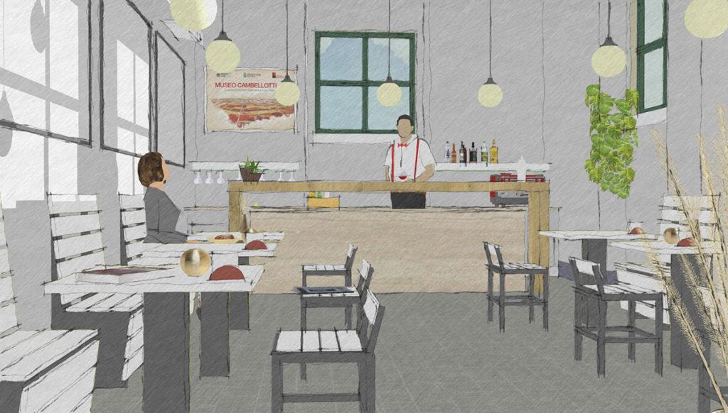 Schizzo del progetto dell'interno della caffetteria del Museo Duilio Cambellotti, una donna siede al tavolo