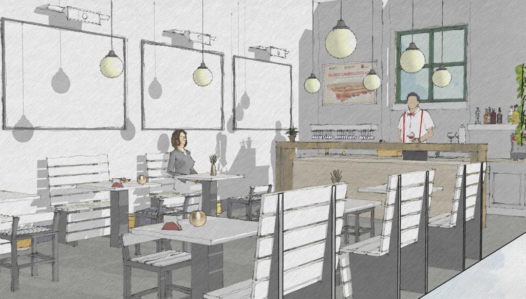 Schizzo di progetto dell'interno della caffetteria del Museo Duilio Cambellotti, con bancone, tavoli e panchine