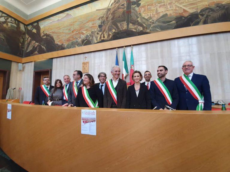 Un momento della presentazione del progetto Sistema integrato dei servizi culturali : Città di Fondazione dell'Agro Pontino e Romano